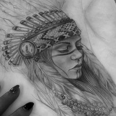 A drawing of a naked american indian
