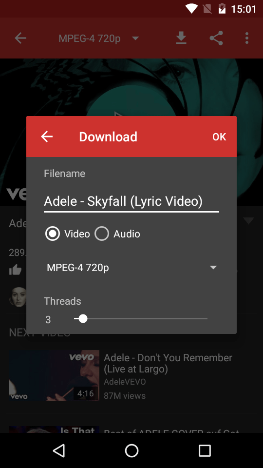 Audio download from youtube app